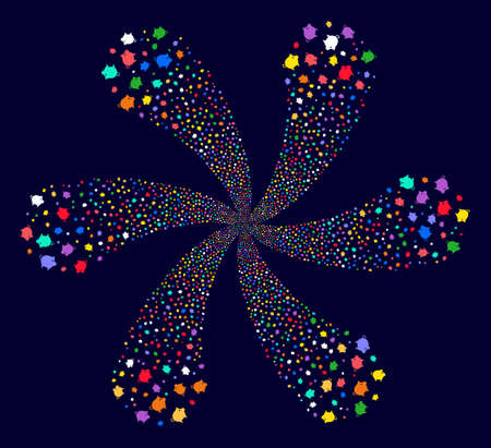 Psychedelic Piggy cyclonic flower shape on a dark background. Hypnotic burst created from scattered piggy symbols.