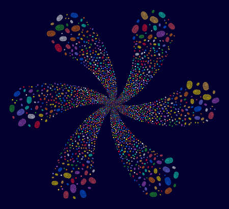 Multicolored Fingerprint rotation flower cluster on a dark background. Hypnotic cycle designed from random fingerprint objects. Illustration
