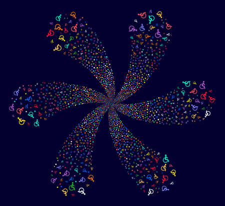 Multicolored Disabled Person swirl flower with six petals on a dark background. Suggestive flower created from scatter disabled person objects. Illustration