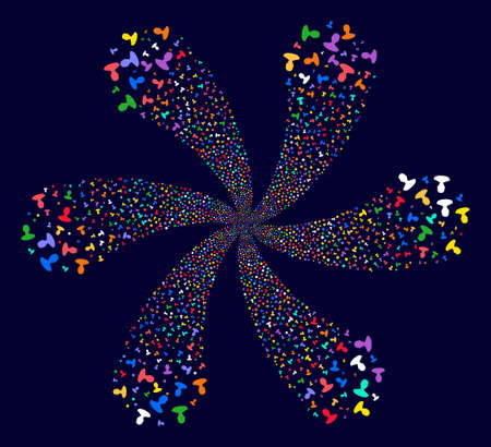 Psychedelic Person cyclonic fireworks on a dark background. Psychedelic cycle combined from scattered person items. Illustration