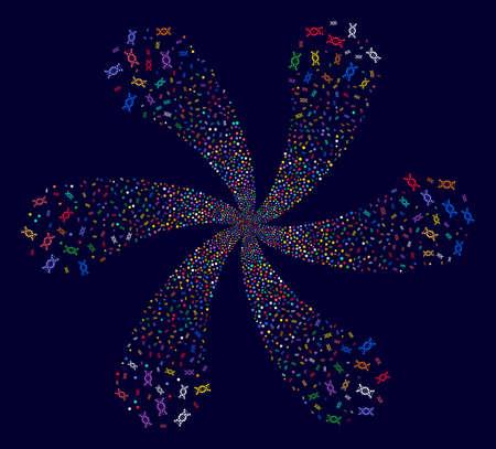 Attractive DNA rotation spin on a dark background. Impressive flower organized from random dna symbols.