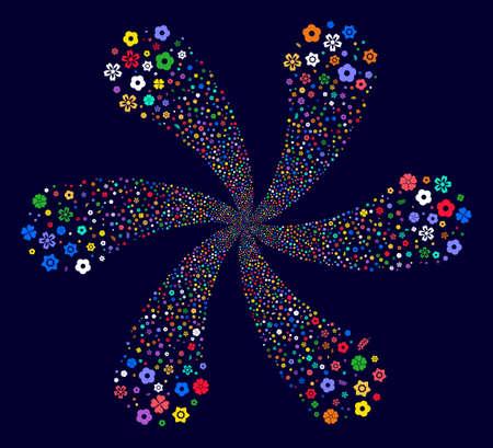 Attractive Flower exploding flower shape on a dark background. Impressive cluster designed from randomized flower symbols.