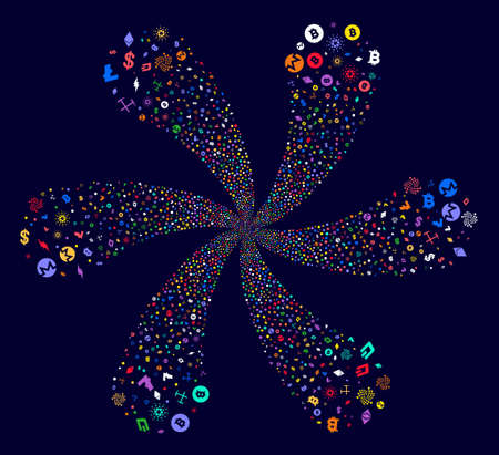 Attractive Cryptocurrency Symbols cyclonic twist on a dark background. Impressive flower with six petals organized from random cryptocurrency symbols items. Illustration