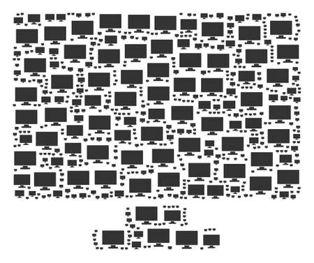 Computer Display pattern made in the set of computer display icons. Vector iconized composition created from simple elements.