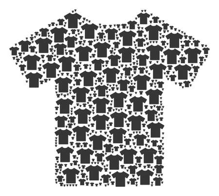 T-Shirt illustration constructed in the collection of t-shirt elements. Vector iconized collage constructed from simple items.