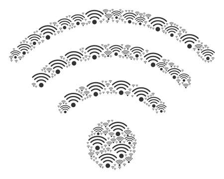 Wi-Fi Source pattern designed in the figure of wi-fi source design elements. Vector iconized collage made from simple elements.