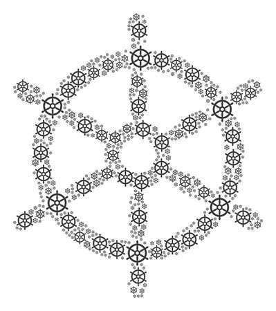 Kleine stuurwielpictogrammen gegroepeerd om een grotere te vormen.