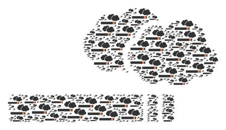 Small cigarette smoke icons grouped together to form a bigger one.