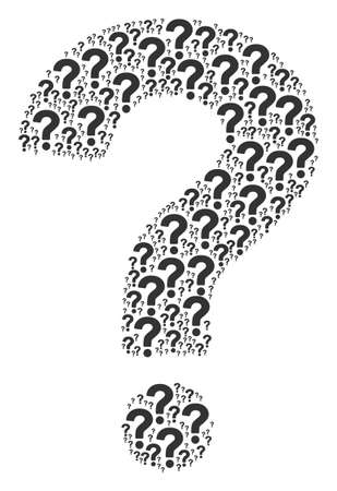 Question pattern organized in the combination of question elements. Vector iconized collage organized with simple design elements.
