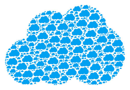 Cloud figure made in the collection of cloud pictograms. Vector iconized composition organized from simple icons.