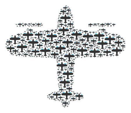 Aircraft figure combined in the shape of aircraft icons. Vector iconized composition made with simple elements.