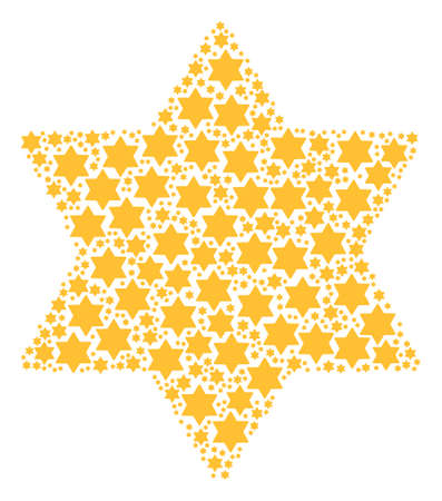 Six Pointed Star composition composed in the group of six pointed star elements. Vector iconized composition created from simple items.