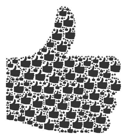Thumb Up collage designed in the shape of thumb up design elements. Vector iconized collage composed from simple pictograms.