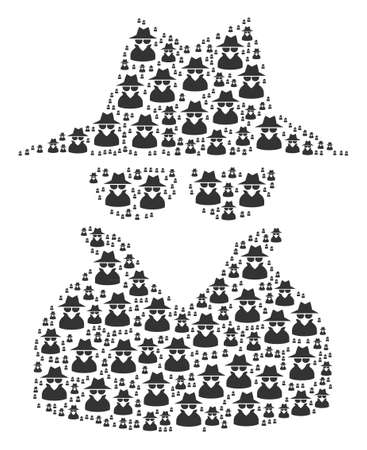 Spy illustration composed in the shape of spy design elements. Vector iconized composition created from simple pictograms.