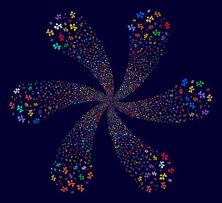 Multi Colored Plant Tree rotation fireworks on a dark background. Vector abstraction. Impressive spiral organized from randomized plant tree symbols.