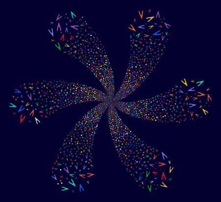 Multi Colored Pliers rotation flower cluster on a dark background. Vector abstraction. Psychedelic cycle organized from scattered pliers objects.