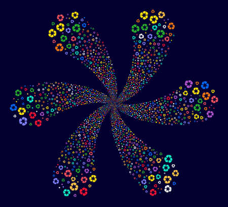 Attractive Recycle Arrows curl burst on a dark background. Vector abstraction. Psychedelic centrifugal explosion done from randomized recycle arrows objects.