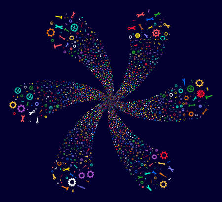 Bright Repair Instruments cycle motion on a dark background. Vector abstraction. Psychedelic flower composed from randomized repair instruments symbols. Illustration