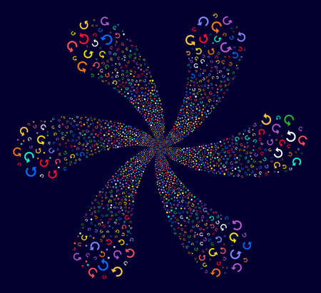 Colorful Rotate exploding twist on a dark background. Vector abstraction. Impressive flower designed from scatter rotate objects.