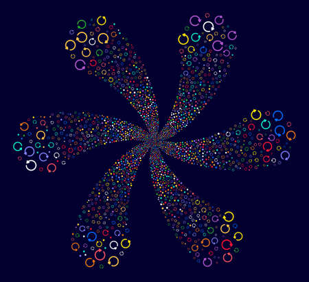 Multi Colored Rotation cyclonic flower cluster on a dark background. Vector abstraction. Hypnotic flower done from scatter rotation symbols.