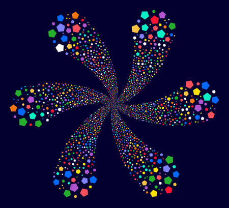 Colorful Pentagon Figure exploding flower with six petals on a dark background. Hypnotic vector cycle designed from scatter pentagon figure items.