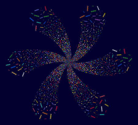 Psychedelic Chain twirl twist on a dark background. Psychedelic vector cluster organized from scatter chain symbols.
