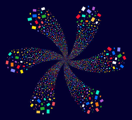 Psychedelic Rectangle Shape exploding composition on a dark background. Hypnotic vector flower with six petals designed from scattered rectange shape objects.