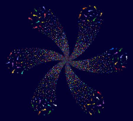 Multicolored Happy Spermatozoon centrifugal burst on a dark background. Psychedelic centrifugal explosion designed from scattered happy spermatozoon symbols.