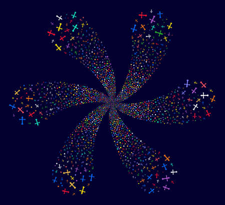 Psychedelic Christian Cross spiral abstract flower on a dark background. Suggestive flower with six petals combined from scattered christian cross symbols. Ilustrace