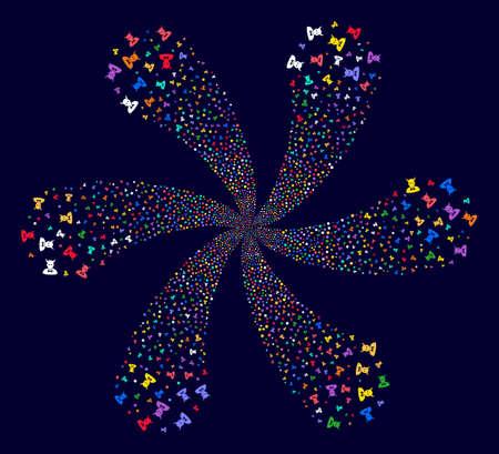 Multi Colored Devil exploding fireworks on a dark background. Hypnotic twirl done from scattered devil items. Ilustração