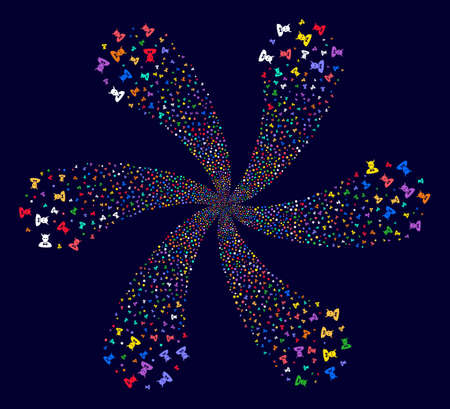 Multi Colored Devil exploding fireworks on a dark background. Hypnotic twirl done from scattered devil items. Illustration