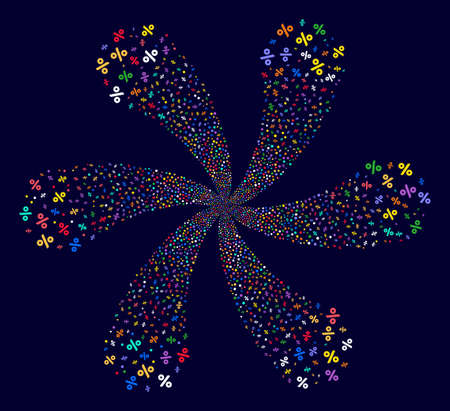 Multi Colored Percent rotation motion on a dark background. Suggestive centrifugal explosion composed from randomized percent items.