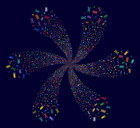 Colorful Genetics Analysis cyclonic abstract flower on a dark background. Suggestive flower designed from scattered genetics analysis items. Illustration
