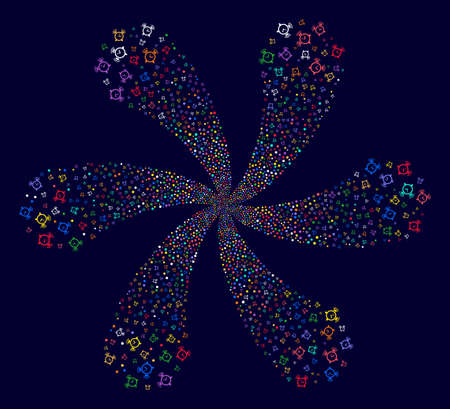 Colorful Buzzer curl flower with six petals on a dark background. Psychedelic cluster combined from random buzzer symbols.
