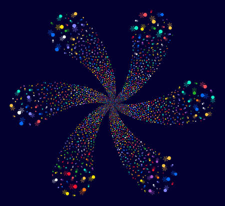 Attractive Fireworks Detonator twirl composition on a dark background. Suggestive flower created from random fireworks detonator items. Illustration