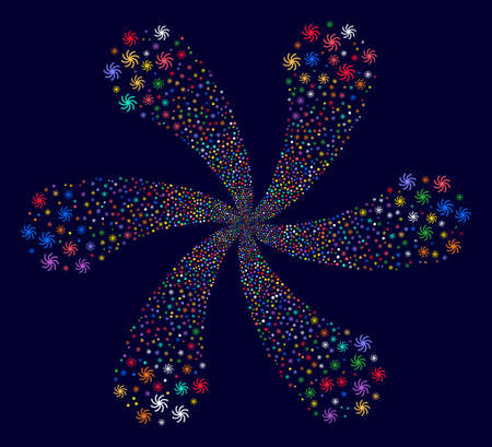 Multi Colored Galaxy centrifugal bang on a dark background. Suggestive flower designed from randomized galaxy items.