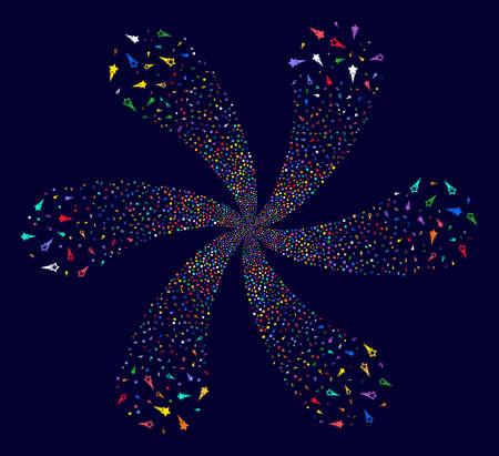 Attractive Confetti Stars centrifugal fireworks on a dark background. Suggestive curl organized from randomized confetti stars symbols.