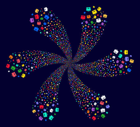 Multicolored Case cyclonic flower shape on a dark background. Hypnotic flower designed from scattered case symbols. Illustration