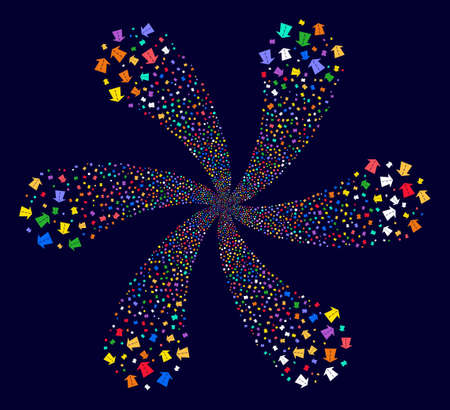 Colorful Future Road spiral bang on a dark background. Hypnotic curl composed from scattered future road symbols.