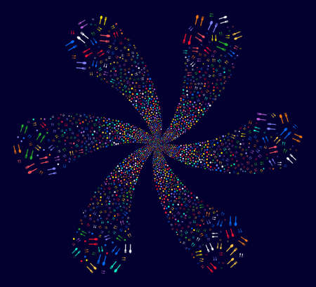 Multi Colored Fork And Spoon twirl flower cluster on a dark background. Impressive curl organized from scatter fork and spoon objects.