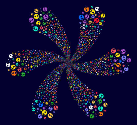 Multicolored Earth explosion abstract flower on a dark background. Suggestive cluster composed from random earth symbols.