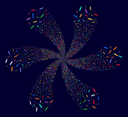 Bright Edit Pencil centrifugal flower with 6 petals on a dark background. Hypnotic cycle combined from scatter edit pencil symbols.