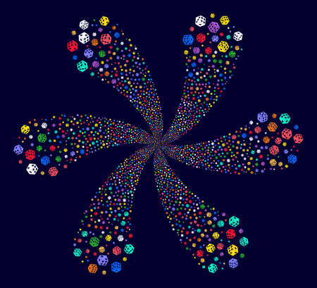 Attractive Dice twirl burst on a dark background. Psychedelic spiral combined from scattered dice items.
