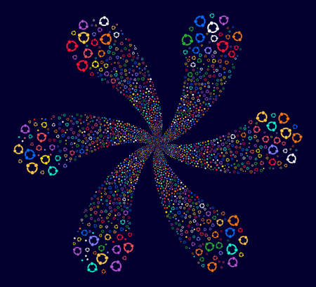 Multi Colored Cooperation cyclonic abstract flower on a dark background. Psychedelic flower with six petals composed from scattered cooperation objects. Illustration
