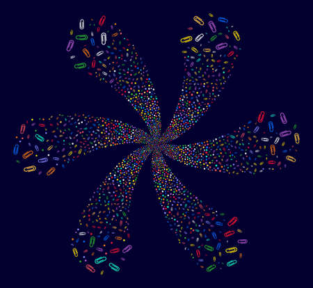 Multi Colored Paperclip twirl flower with 6 petals on a dark background. Psychedelic twist combined from randomized paperclip items. Illustration
