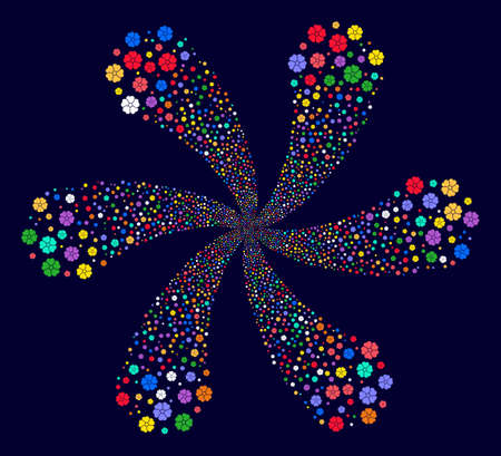 Bright Flower rotation motion on a dark background. Psychedelic flower with six petals designed from random flower symbols.