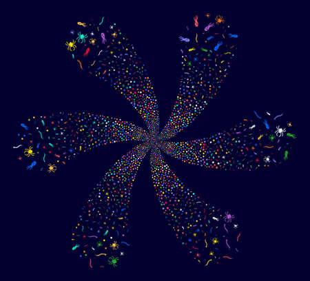Multi Colored Parasites cyclonic burst on a dark background. Hypnotic curl done from randomized parasites symbols. Illustration