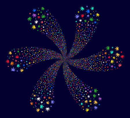 Multi Colored Cannabis cyclonic fireworks on a dark background. Psychedelic cluster organized from scatter cannabis objects. Illustration