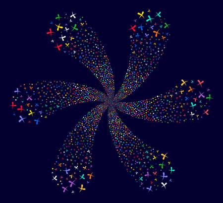 Psychedelic Erase exploding flower cluster on a dark background. Suggestive spiral done from randomized erase symbols.