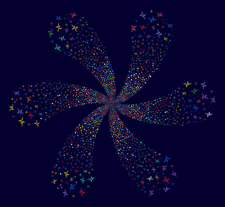 Psychedelic Pulse spiral flower shape on a dark background. Hypnotic spiral composed from random pulse symbols.